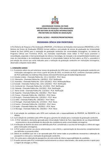Visualizar o edital. - Propesp - Universidade Federal do Pará
