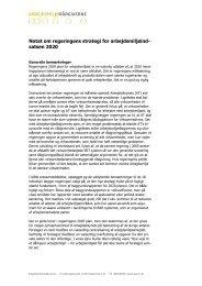 Notat om regeringens strategi for arbejdsmiljøind- satsen 2020