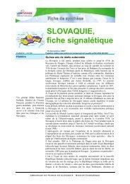 SLOVAQUIE, fiche signalétique - ILE-DE-FRANCE INTERNATIONAL