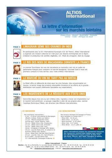 La lettre d'information sur les marchés lointains ALTIOS International