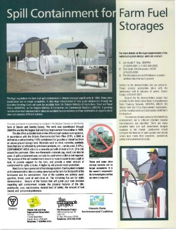 Spill Containment for Farm Fuel Storages - Ontario Soil and Crop ...