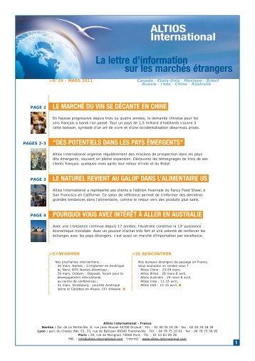 La lettre d'information sur les marchés étrangers ALTIOS International