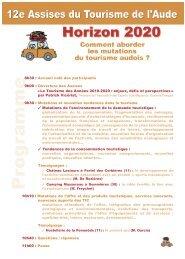 Programme des Assises du Tourisme 2010 - (CCI) de Narbonne ...