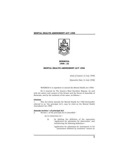 Mental Health Amendment Act 1998 Pdf Bermuda Laws Online