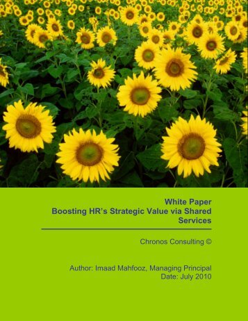 White Paper Boosting HR's Strategic Value via Shared Services