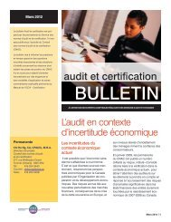 L'audit en context d'incertitude économique - Normes d'information ...