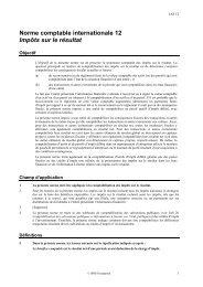 Impôts sur le résultat - Normes d'information financière et de ...