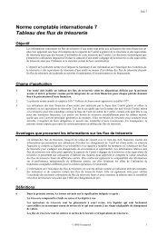 Tableau des flux de trésorerie - Normes d'information financière et ...