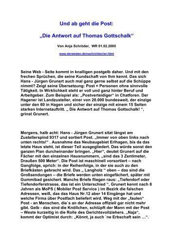 """Und ab geht die Post: """" Die Antwort auf Thomas Gottschalk """""""