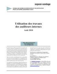 Utilisation des travaux des auditeurs internes - Normes d'information ...