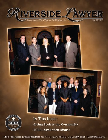 November 2004 - Riverside Lawyer Magazine - Riverside County ...