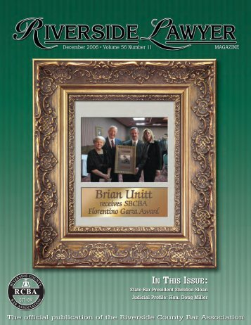 IN THIS ISSUE: - Riverside County Bar Association