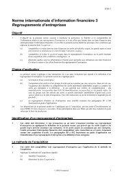 Regroupements d'entreprises - Normes d'information financière et ...