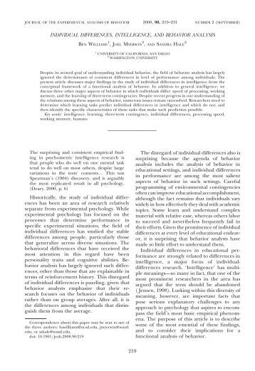 individual differences and personalities Personality and individual differences is primarily devoted to the publication of articles (experimental, correlational, theoretical.