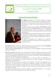 Compte rendu Assises du Tourisme 2008 - (CCI) de Narbonne ...