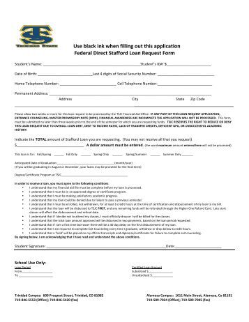 Federal Direct Stafford Loan Request Form - School Of Management