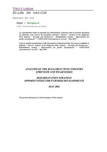 Bulgaria - Vertumne, Le Consultant du secteur des vins et spiritueux