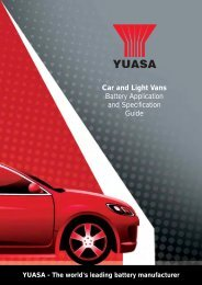 Car and Light Vans Battery Application and Specification ... - Yuasa