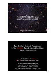 Two Distinct Populations in Dwarf Spheroidal Galaxies Two ... - VERA