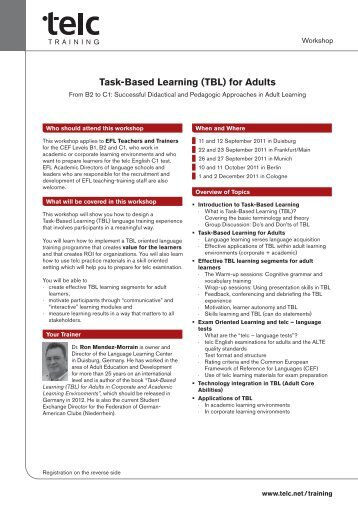 Task-Based Learning (TBL) for Adults - Language Learning Center