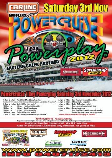 Pre Entrants From $80 Spectators $35 Kids 12 ... - Powercruise