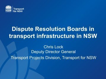 Dispute Resolution Boards in transport infrastructure in NSW