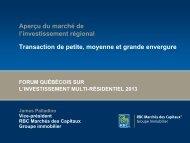 Aperçu du marché de l'investissement régional Transaction de ...