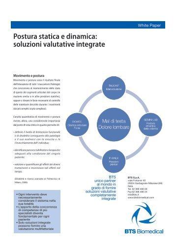 Postura statica e dinamica: soluzioni valutative integrate - Bts.i