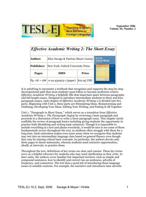 effective academic writing  the short essay   tesl ej