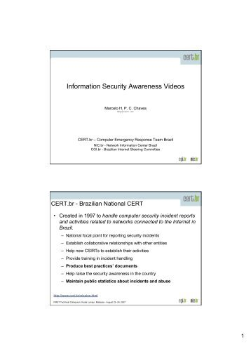 Information Security Awareness Videos - CERT.br