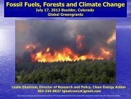 Fossil Fuels, Forests and Climate Change - Clean Energy Action