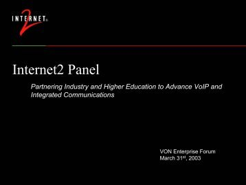 Internet2 Panel - Ben Teitelbaum