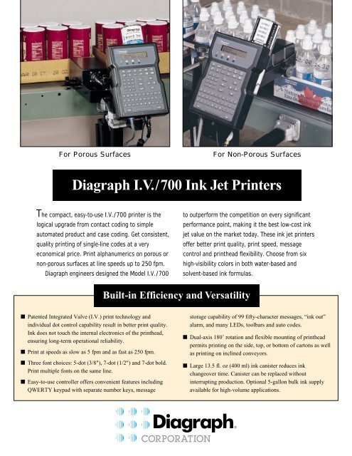 Built-in Efficiency and Versatility Diagraph IV/700 Ink Jet Printers