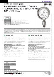 bourdon tube pressure gauges ATEX, NACE MATEX ... - Lehengoak