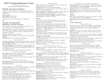GNU Texinfo Reference Card - Mirror