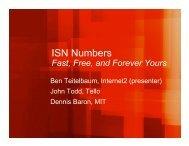 ISN Numbers - Ben Teitelbaum