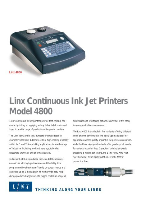 Linx Continuous Ink Jet Printers Model 4800