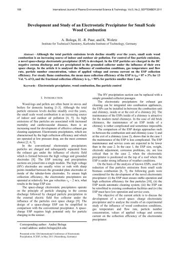 Development and Study of an Electrostatic Precipitator for Small ...