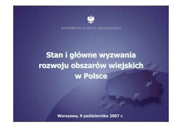 Stan i główne wyzwania rozwoju obszarów wiejskich w Polsce