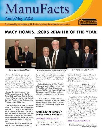 April/May 2006 - California Manufactured Housing Institute