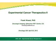 Experimental therapeutics II - Experimental Oncology Graduate Study