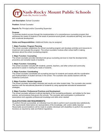 School Counselor Job Description  TredyffrinEasttown