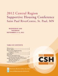 2012 Central Region Supportive Housing Conference Program