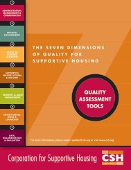 QUALITY ASSESSMENT TOOLS - Corporation for Supportive Housing