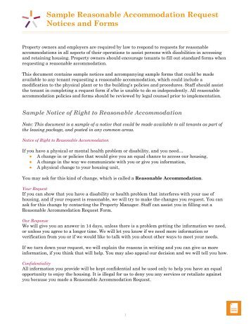 Reasonable Accommodations Request Form Pdf