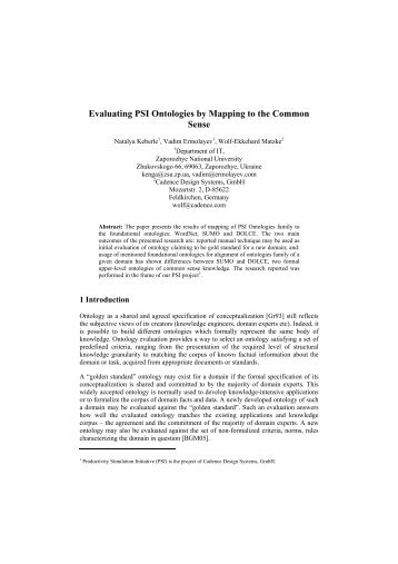 Evaluation of PSI Ontologies by Mapping to the ... - Vadim Ermolayev