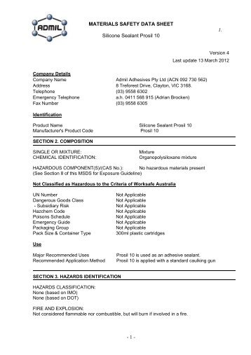 MATERIALS SAFETY DATA SHEET 1. Silicone ... - Admil Adhesives