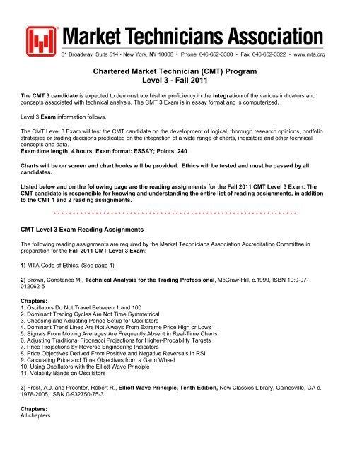 CMT) Program Level 3 - Market Technicians Association