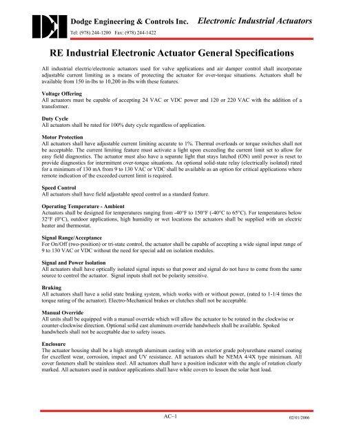 RE Industrial Actuator Specifications - Dodge Engineering ...