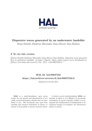 DISPERSIVE WAVES GENERATED BY AN UNDERWATER ...